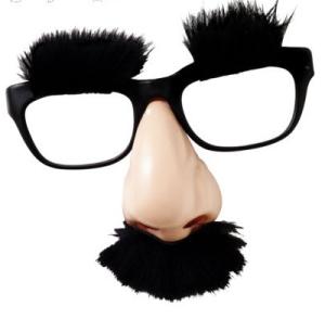 Fake mustache and glasses